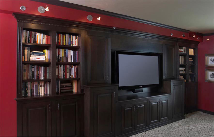 02 Built In Walnut Media Cabinetry