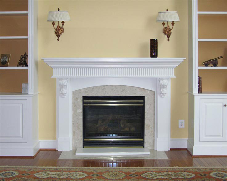 fireplace mantel corbels. White mantel with reed and corbels Maryland Custom Mantels  Cabinets A Cut Above Inc