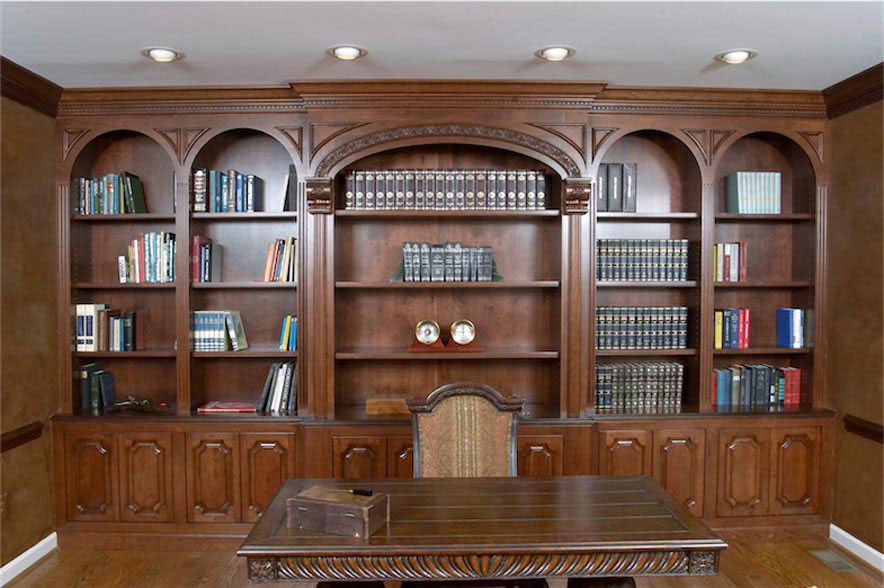 Cherry Home Office With Carved Moldings In Hedgerow