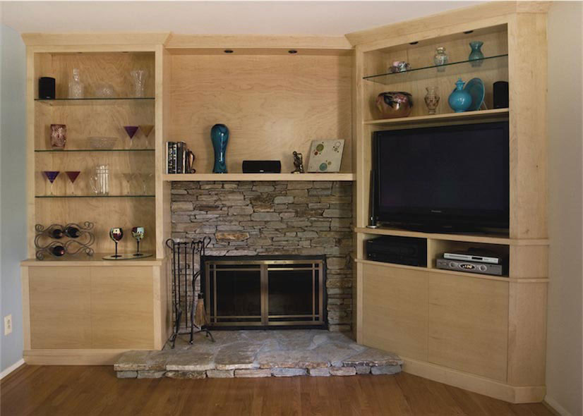 Maple media built in in and fireplace in columbia for Media room built in cabinets